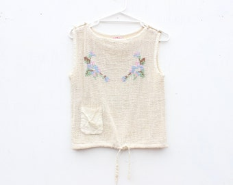 70s Darling CROSS STITCH Mexican Hippie Style Cream Gauze Embroidered Crop Top / Tank / Blouse