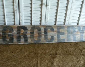 Farmhouse Style Country Grocery Sign Wall Decor Distress Wood Panel Art Board Primitive Sign  Wall hanging Kitchen Decor