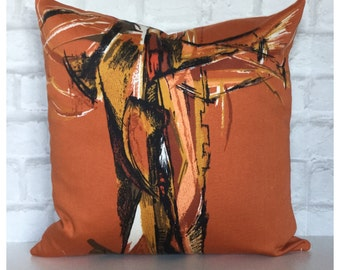 "Handmade Vintage Orange Mid Century Abstract Fabric Cushion Cover 18"" x 18"""