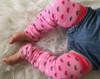 Pink Polka Heart Baby Legs / Leg Warmers- Free Domestic Shipping