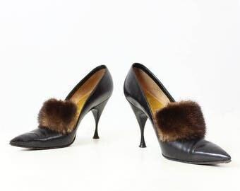vintage 50s HERBERT LEVINE shoes / 1950s mink fur heels / black leather stilettos / mink fur trim heels / size 6.5 designer shoes