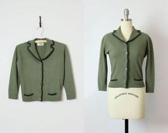 vintage 50s cashmere cardigan / 1950s olive green cashmere cardigan / Dalton cashmere sweater / classic fitted cardigan