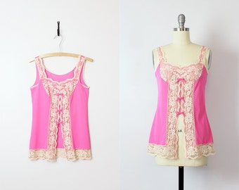 vintage 60s hot pink camisole / 1960s pink cutaway camisole top / lingerie slip top / pink and cream lace top / boudoir top