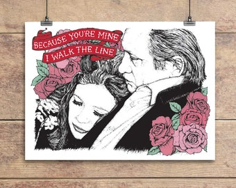 I Walk The Line - Johnny and June Cash - Valentine's Greeting Card