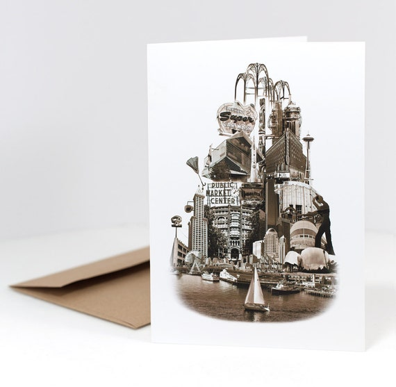Tower of Seattle Notecard - Seattle, Washington - sepia - 5x7 folded Greeting Card