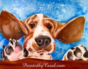 Basset Hound Print, Basset Painting, Basset Giclee Print, Basset Hound Art, Basset Decor, Basset Wall Art, Basset Watercolor, Basset Gifts