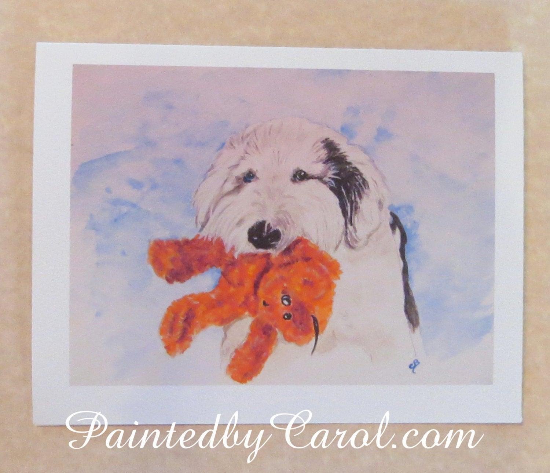 Old English Sheepdog Birthday Card Beary Happy Birthday
