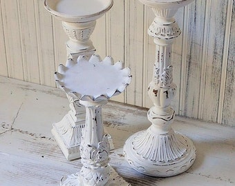 Candle holders  Set of 3 White Shabby Chic Wedding Christmas Holiday Upcyclesisters