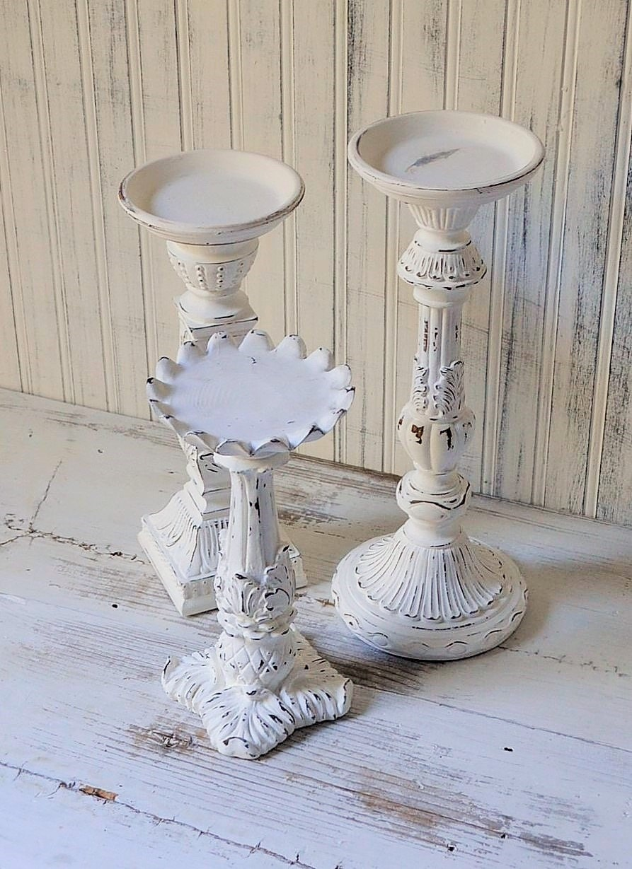 Candle holders white shabby chic set of 3 wedding decor - Shabby chic decor for sale ...