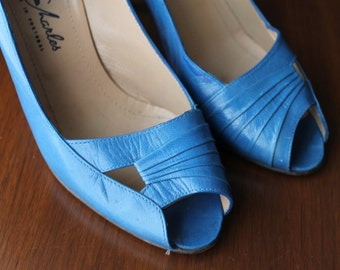 Vintage Leather Shoes Blue Wedding Shoes Ladies Dress Shoes High Heels Blue Pumps Women's Footwear Rockabilly Hipsters Gifts for Her Mad Men