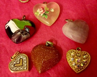Destash Lot of 27 assorted Heart Brooches, earrings and pendants for repurposing, crafting