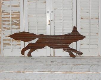 Rusty Metal Fox Sign Rustic Log Cabin Decor Country Home Decor