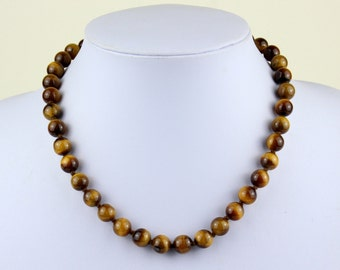 10mm Tiger Eye Necklace - VARIOUS Length Options Hand Knotted. Brown Tiger Eye / Tiger's Eye Stone. Therapeutic. MapenziGems