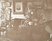 Original Antique Matted Photograph The Christmas Parlor