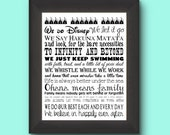 Disney Customized Last Name Family Rules 11 by 14 Typography - NEW ITEM SALE!