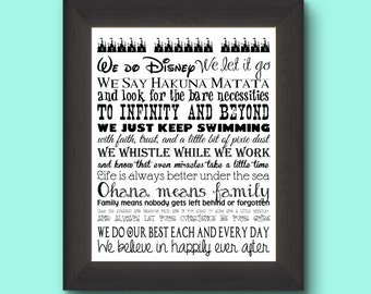 Disney Customized Last Name Family Rules 11 by 14 Typography