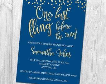 One Last Fling Before the Ring Lingerie Shower Invitation, Bachelorette Party Invitation