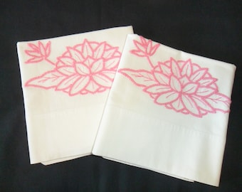 Vintage Standard size white pillowcases with hand embroidery and lace trim.  Pretty in pink