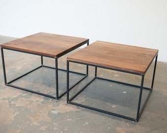 Grain Coffee Table - Side Table- Walnut and Steel- Free Shipping