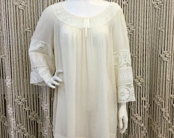 Gorgeous 1970's Saks Fifth Avenue gauzy cream lace detail tunic dress