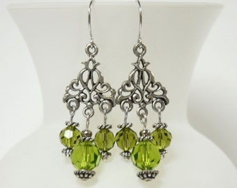 Silver Chandelier Earrings with Round Green Crystal Beads