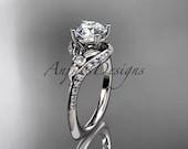 14kt  white gold diamond leaf and vine wedding ring,engagement ring ADLR112