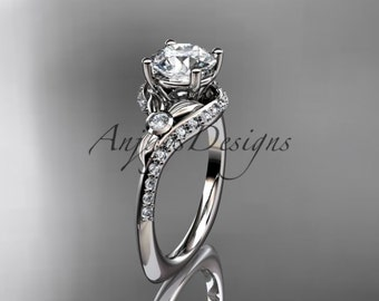 14kt  white gold diamond leaf and vine wedding ring,engagement ring ADLR112