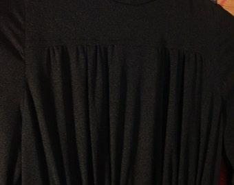 Vintage 1990s Black Boho Chic Turtleneck Midi Dress