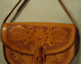 Vintage Small Boho Chic Handtooled Tan Leather Handbag