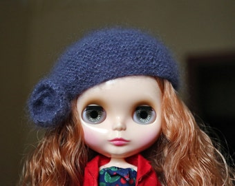 Very soft knitted beret for Blythe