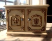 RESERVED FOR CHRISTIELINMD Vintage French Provincial Style Wood Jewelry Box