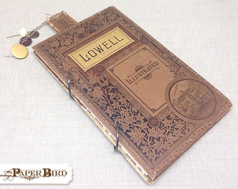 Lowell Up-cycled Handmade Journal : Travel Journal Doodle Book Blank Book Diary Zendoodle Book