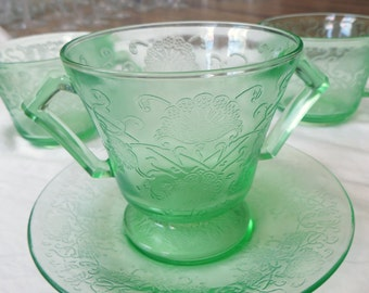 Green Depression Glass Hazel-Atlas Florentine No. 2 Detailed Teacup Saucer Set of 13
