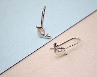 Bird earrings. Silver bird earrings. Unusual earrings. Birds in silver. Nature jewelry. Woodland. Bird lover. Unique gifts.