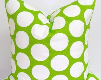 GREEN Pillow, Green Pillow Cover, Decorative Pillow, Green Throw Pillow, Dot Pillow, 18x18, 16x16, 22x22, 26x26, 24x24 and more-ALL SIZES,