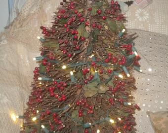 Twig and Berry Pre lit Christmas Tree, Country, Woodland, Christmas Decor