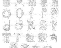 Articoli unici per alfabeto medievale etsy - Adulto da colorare elefante pagine da colorare ...
