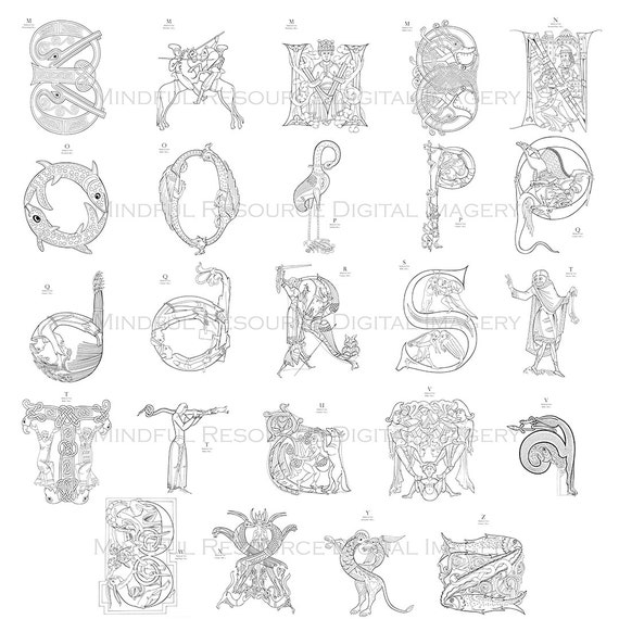 Medieval Alphabet Coloring Pages : Medieval illuminated letters m
