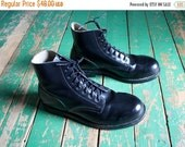 ON SALE Vintage black leather steel toed military boots / Vintage leather army boots / 7-hole boots / Men's size 7.5 D / Women's size 9