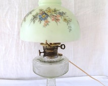 Vintage 1930s Aladdin Model B Hurricane Oil Lamp, Vintage Oil Lamp Electrified 1930s Aladdin Nu Type Model B Hurricane Lamp Painted Shade