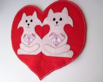 PDF PATTERN: Valentine's Penny Rug Wool Applique sewing tutorial - Love Cats felt DIY Spring Decoration - Holiday accessory