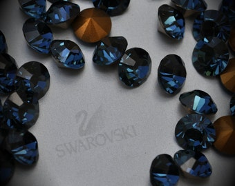 1012 35ss Genuine Swarovski Crystals Montana Rounds Foiled Rhinestones 10pcs