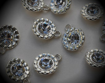 Genuine Silver Plated Swarovski Crystal  Daisy Flowers Charms In Crystal