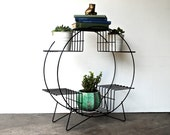 Mid-Century Plant Stand | Large Round Vintage Wire Plant Stand - Atomic Modern Design