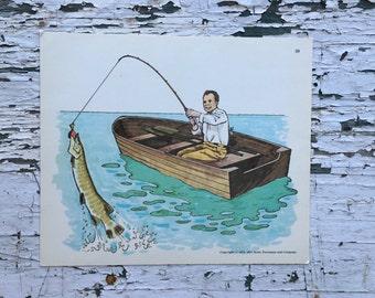 Vintage fishing print