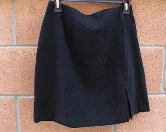 "Black suede like material skirt size 28"" waist"