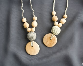 Silk & Juniper Wood Teething Necklace for mom to wear   Nursing Necklace   Breastfeeding   Teething Jewelry   New Mom Gift