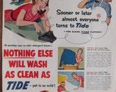 TIDE LAUNDRY DETERGENT Original Vintage Advertisement Laundry Room Decor Laundry Soap Vintage Housewife Ready To Frame