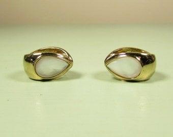 Magnetic Hoop Earrings - Vintage MOP Mother of Pearl Monet Gold Tone