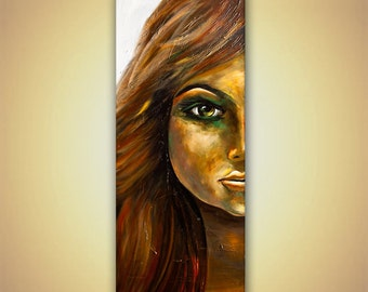 Original Woman Portrait Painting Textured Acrylic Painting Modern Palette Knife 60x24 by Osnat